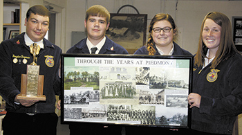 Burns FFA presents 1960 Piedmont High Trophy to Lawndale Historical Museum