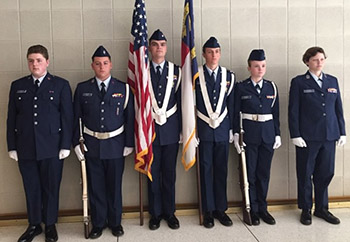 Civil Air Patrol Shelby Composite Squadron perform Color Guard presentation in Raleigh