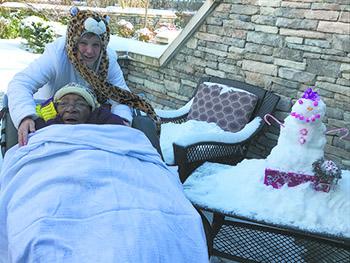 Snowman brings joy to Hospice patient