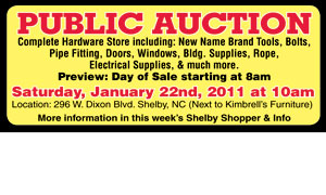 PUIBLIC AUCTION JANUARY 22, 2011