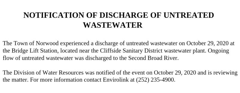 NOTIFICATION OF DISCHARGE OF UNTREATED WASTEWATER