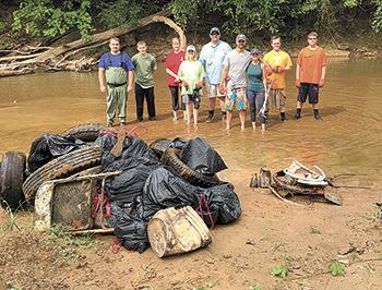 Volunteers clean up half ton of debris from First Broad River