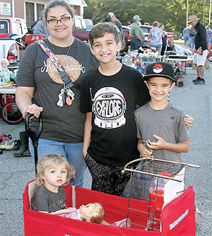 Cortney, Braiden, Jeffery and Nadalyne Goodwin were enjoying family time while looking for deals at the Mooresboro Townwide Yard Sale.
