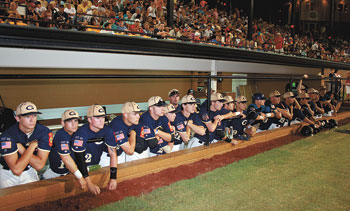 GAFFNEY WAITING TO TAKE THE FIELD IN THE AMERICAN LEGION WORLD SERIES