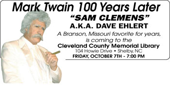 Cleveland County Memorial Library Presents Sam Clemens