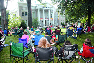 A large crowd gathered on the Square at The Earl Scruggs Center to enjoy the music at the Pickin' on the Square